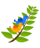Tropical two colorful birds — Vector de stock