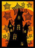 Burg hinter spinnennetzen — Stockvektor