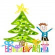 Christmas happy kid — Stock Vector #24000053