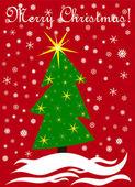 árbol de navidad y nieve — Vector de stock
