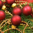 Beautiful Christmas - wreath with small glass balls — Stock Photo