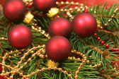Beautiful Christmas - wreath with small glass balls — Stok fotoğraf