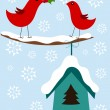 Christmas birds card - Stok Vektör