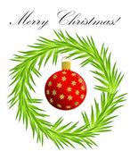 クリスマスの円の花輪 — ストックベクタ