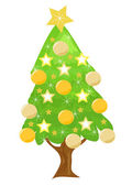 Decorated golden Christmas tree — Stock Vector