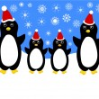 Christmas penguin family — Stock Vector