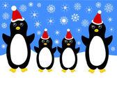 Weihnachts-Pinguin-Familie — Stockvektor