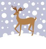 Reindeer in winter — Stock Vector