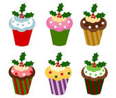 Christmas cupcakes — Stock Vector