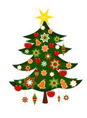 Christmas tree with ornaments — Stock Vector