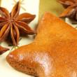 Christmas gingerbread star with badiana — Stock Photo
