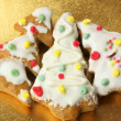 Three gingerbread Christmas trees - Stock Photo