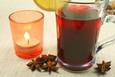 Hot mulled wine with spices — Stock Photo