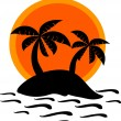 Sunset on desert island — Stock Vector