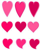 Corazones de color rosa vector — Vector de stock