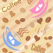 Coffee cups background — Stock Vector