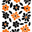 Stock Vector: Orange and black flowers background