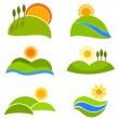 Landscapes icons — Stock Vector