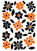 Orange and black flowers background — Stock Vector