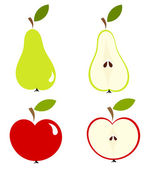 Pear and apple — Stock Vector