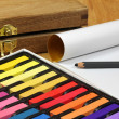 Stock Photo: Chalk pastel set and tools