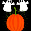 Ghosts and pumpkin - halloween — Imagen vectorial
