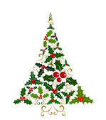 Holly Christmas tree — Stock Vector