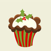 Christmas cupcake — Stock Vector