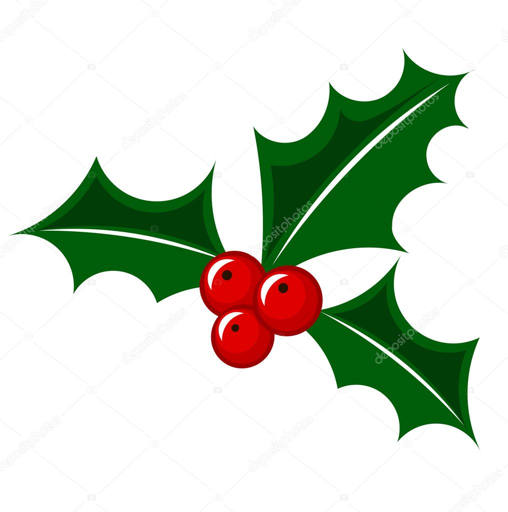 christmas holly berry stock vector  u00a9 studiobarcelona Reindeer Clip Art holly leaves clipart black and white