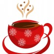 Stock Vector: Christmas coffee cup