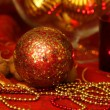 Christmas golden and red table decoration — Stock Photo