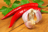 Spicy chili peppers and garlic — Stock Photo