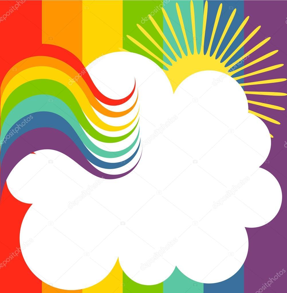 彩虹背景与云.矢量图