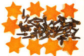 Orange peels and cloves — Stock Photo