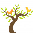 Birds on tree — Stock Vector