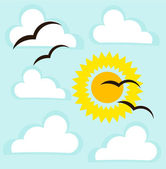 Cloudy sky, sun and birds. — Stock Vector