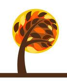 Autumn tree isolated — Stock Vector