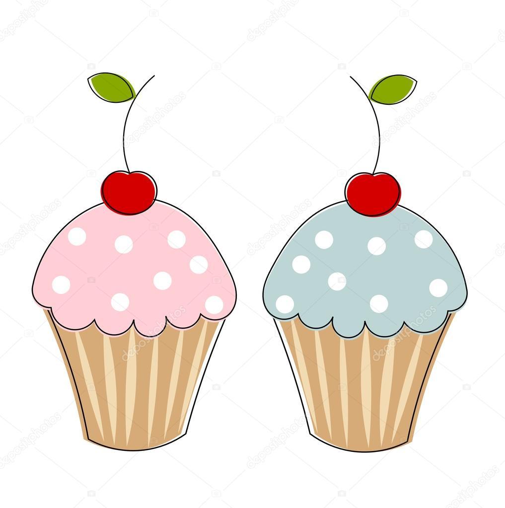 两个纸杯蛋糕 — 图库矢量图像08