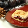 Plum pie, cinnamon and fresh plums — Stock Photo