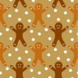 Gingerbread seamless pattern — Stock Vector