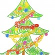 Stock Photo: Christmas tree drawing