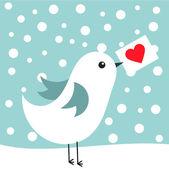 Pássaro com coração — Vetor de Stock