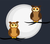 Owls couple — Stock Vector
