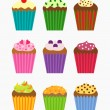 Cupcakes collection — Stock Vector