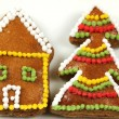 Stock Photo: Gingerbread house and Christmas tree