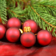 Christmas red baubles and fir — Stock Photo