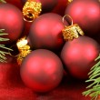 Macro of Christmas baubles group — Zdjęcie stockowe
