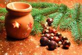Adornos y linterna de navidad — Foto de Stock