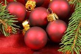 Macro of Christmas baubles group — Stok fotoğraf