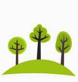 Trees on hill — Stock Vector